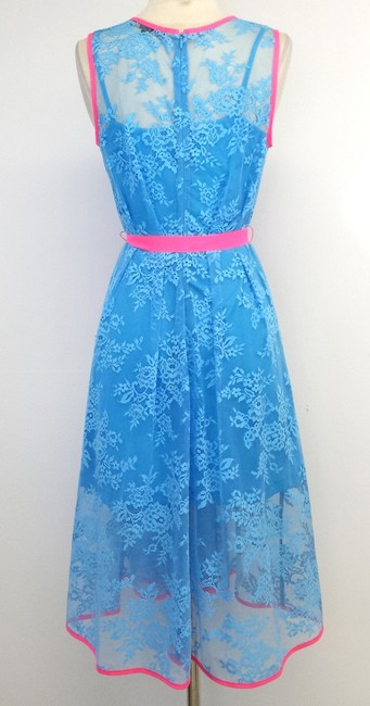Eva Franco short dress Blue Neon Pink Lace Sleeveless on Tradesy