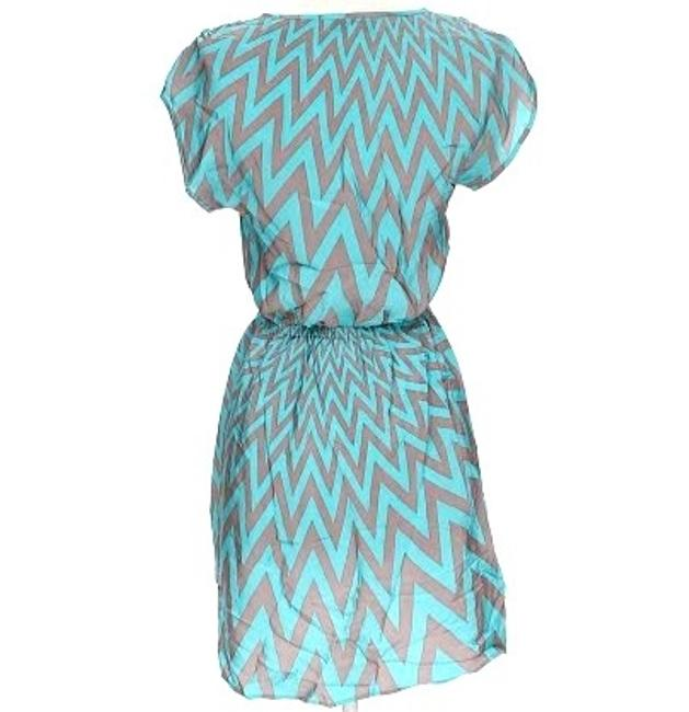 Amanda Uprichard short dress Aqua & Grey Silk Chevron on Tradesy