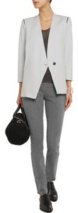 Helmut Lang Jacket Asymmetrical Leather Contrast Light gray Blazer