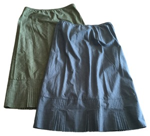 Banana Republic Elastic Skirt one skirt is Blue-Grey and the other skirt is Green