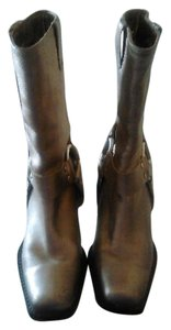 Michael Kors Leather Harness Mid Calf Bronze Boots
