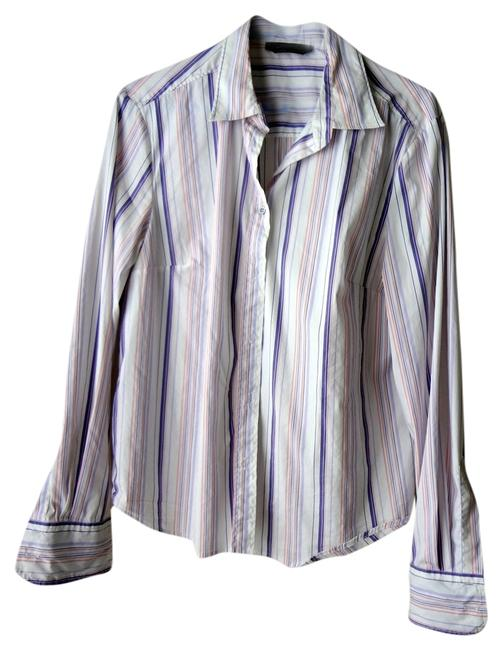 Max Mara Button Down Shirt Pink Purple White Stripe