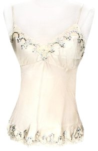 Gold Hawk Silk Silverescent Sequin Top Ivory
