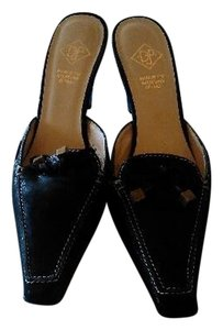 Donald J. Pliner J Leather Black Mules