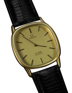 Omega Omega De Ville Mens Midsize Thin Dress Watch - 18K Gold Plated and Stainless Steel