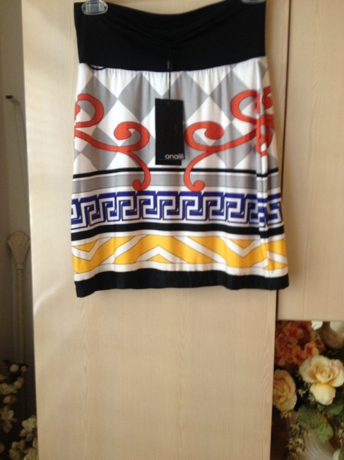 analili Mini Skirt Multicolor black, white, grey, red, blue, yellow print very soft skirt