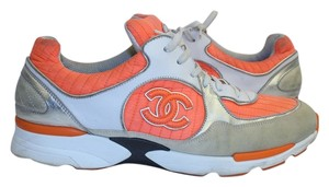 Chanel Running Sneakers Cc Tennis Orange/ White/ Tan/ Silver Athletic