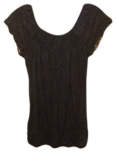 Self Esteem Short Sleeve Wrinkle Look Top black