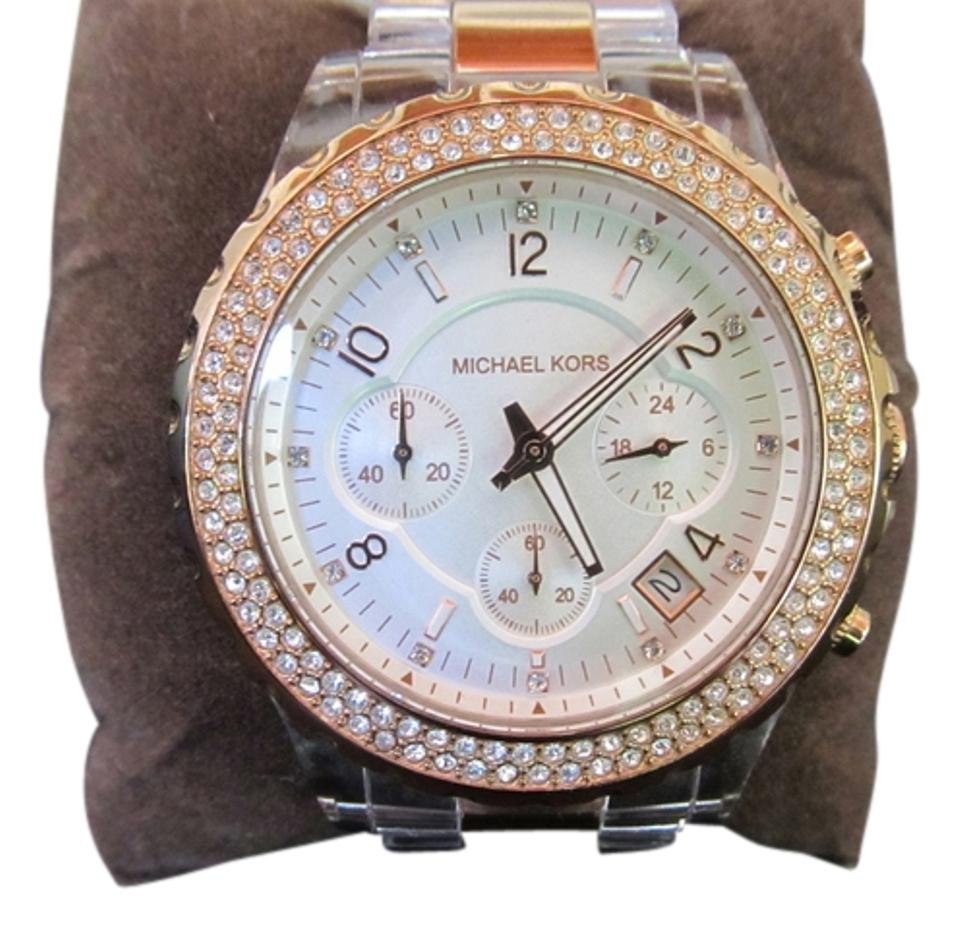 Michael Kors Rose Gold Madison Clear Chronograph Mk5323 Watch 56% off retail
