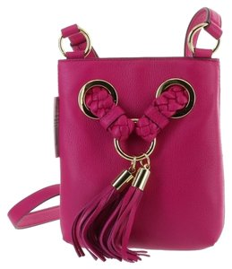 Michael Kors Braided Grommet Tassels Pink Cross Body Bag
