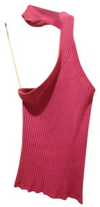 VENUS Sleeveless Ribbed Collar Around Neck Silk Spandex Top pink
