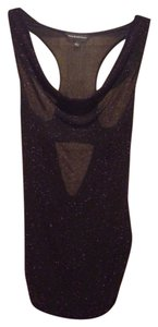 Rock & Republic Glittery Sleevelss Partial Backless Top Black/purple