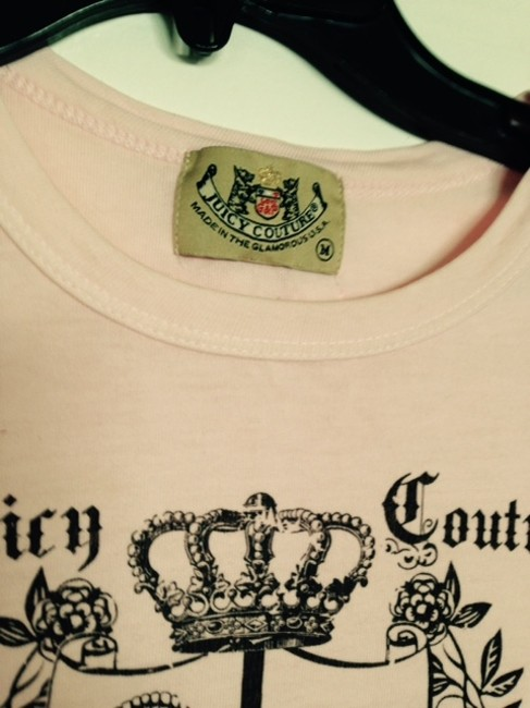 Juicy Couture T Shirt Light Pink with Charcoal print