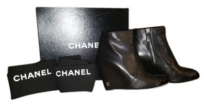 Chanel Wedges Black Boots