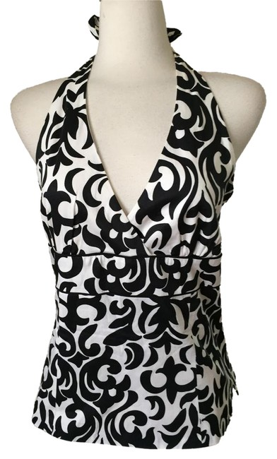 White House | Black Market Black and White Halter Top