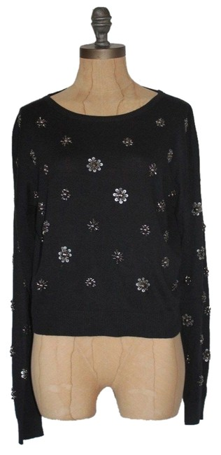 Anthropologie Embellished Crop Art Deco Angora Sweater