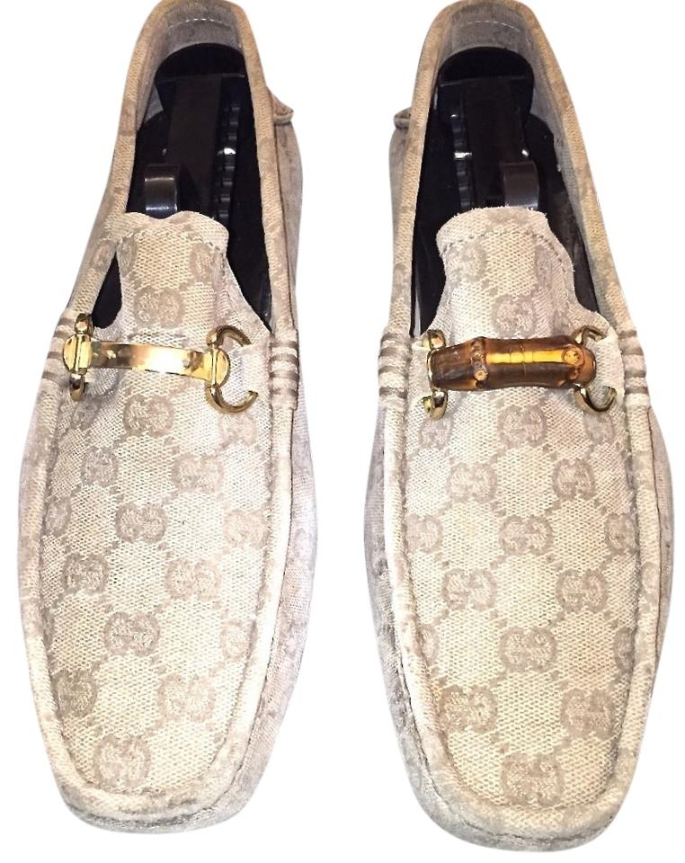 a6db8352031 Gucci Beige Monogram Canvas Bamboo Loafers (Men s) Flats Size US 8.5 ...