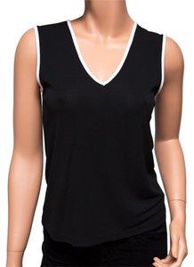 DKNY V-neck Sleeveless Top b&w