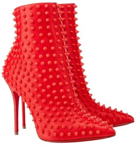 Christian Louboutin Snalkita Corazon Spiked Ankle Nappa Leather 36 6 Rita Ora Celebrity Red Boots