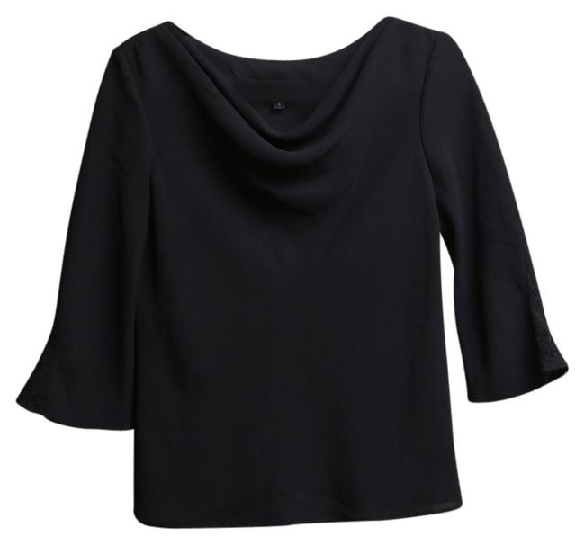 Donna Ricco 3/4 Sleeves Formal Cowl Neck Lace Top Black