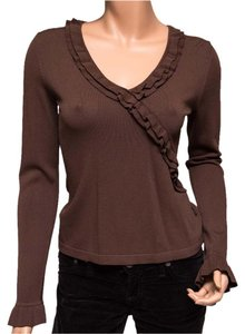 BCBGMAXAZRIA V-neck Ruffle Top Brown