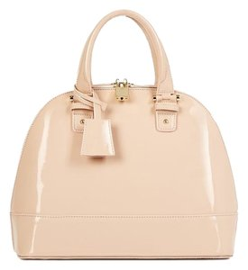 JustFab Faux Patent Leather Satchel in Blush