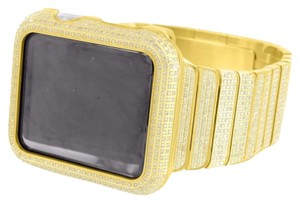 Apple Yellow Gold Finish Real Diamond Apple Watch 6.5ct Stainless Steel Band 42 MM