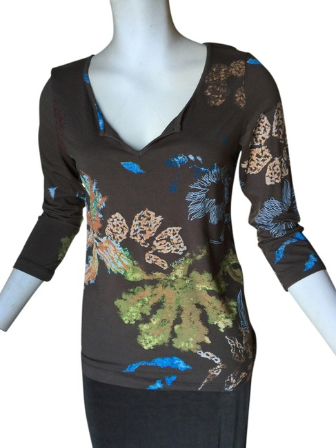 Chico's Chico Brown Floral Shirt New Top Brown/Multi