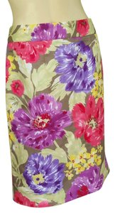 Banana Republic Floral Silky Exposed Zipper Skirt Multi-colored