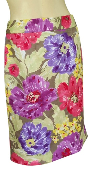 Item - Multi-colored Colorful Floral Pencil Exposed Zipper Skirt Size 10 (M, 31)