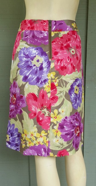 Banana Republic Floral Silky Exposed Zipper Pencil Skirt Multi-colored