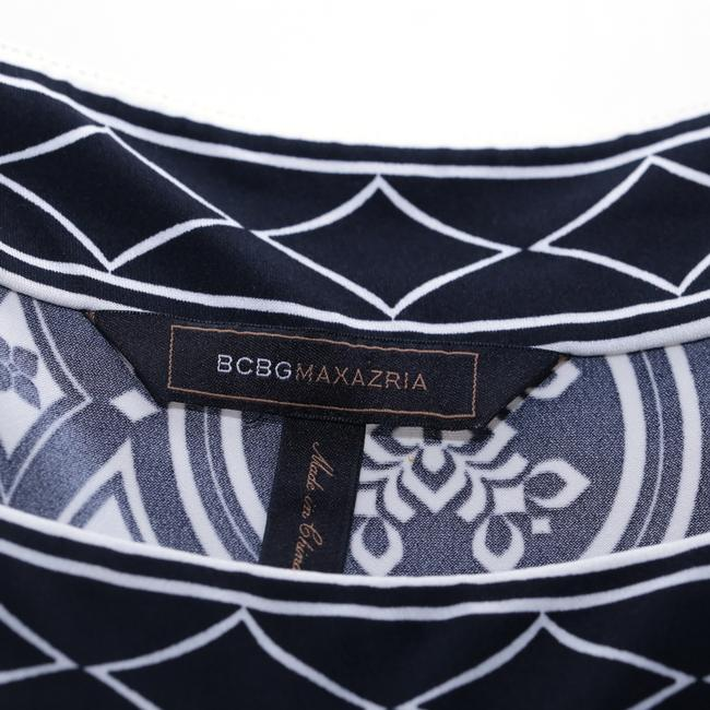 BCBGMAXAZRIA Geometric Square Neck Short-sleeve Top b&w