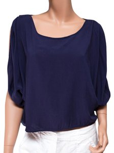 Hazel Split Side Keyhole Scoop Neck Top Blue