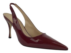 Manolo Blahnik Heel Leather Burgundy Pumps