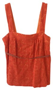 Trina Turk Small Crochet Cotton Top Orange