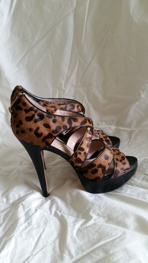 Vince Camuto Party Stiletto Gold Strappy Black and Leopard Platforms
