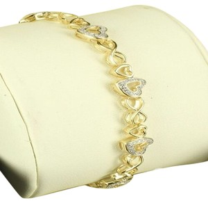 Ladies Heart Link 14k Yellow Gold Finish Over Silver .925 Lab Diamond Bracelet