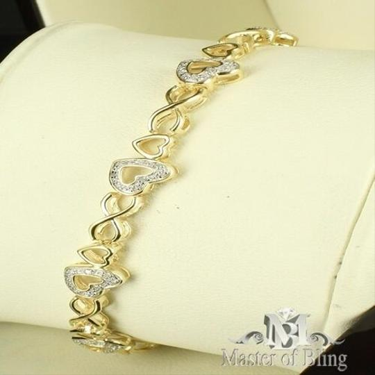 Other Ladies Heart Link 14k Yellow Gold Finish Over Silver .925 Lab Diamond Bracelet
