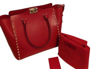 Valentino Rockstud Smooth Leather Tote in Red