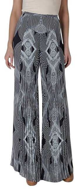 Leifsdottir Geo Pattern Pallazzo Wide Leg Pants Navy & Light Blue
