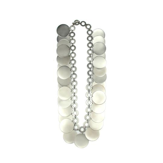 Chanel Chanel Medallion Coin Disc Silver Tone Runway Necklace.