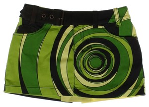 Miss Sixty Geo Print Belted Ultra Mini Mini Skirt Green