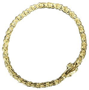 Cluster Center Real Diamond Infinity X Women 10k Yellow Gold Designer Bracelet
