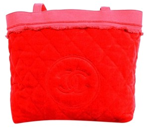 Chanel Quilted Cotton Towel Candy Red Beach Bag