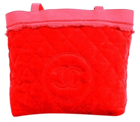 Chanel Red Quilted Cotton Towel Beach Candy Red Beach Bag
