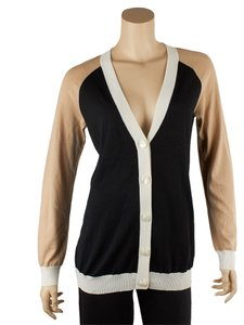 St. John Multi White Tan Wool Petite Cardigan
