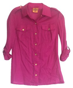 Tory Burch Button Down Shirt Raspberry