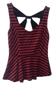 Peplum Striped Cut-out Top Red, Navy