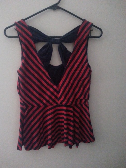 Monteau Peplum Striped Cut-out Bow Top Red, Navy