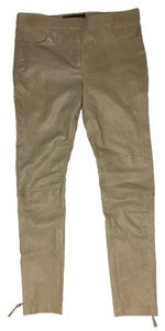 Louis Vuitton Leather Moto Skinny Pants Beige Lambskin